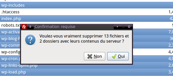 Confirmation de la suppression