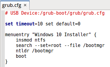 Fichier grub.cfg pour booter Windows